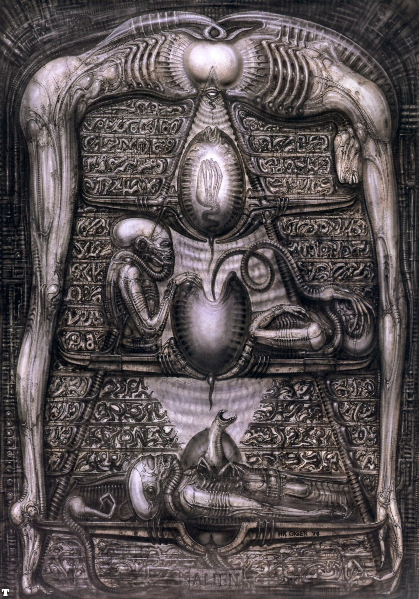 Fantasy art h r giger for Prometheus xenomorph mural